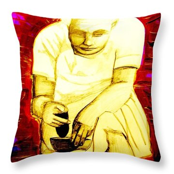Throw Pillow featuring the mixed media Suruhana by Michelle Dallocchio
