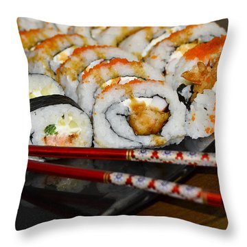 Sushi And Chopsticks Throw Pillow by Carolyn Marshall