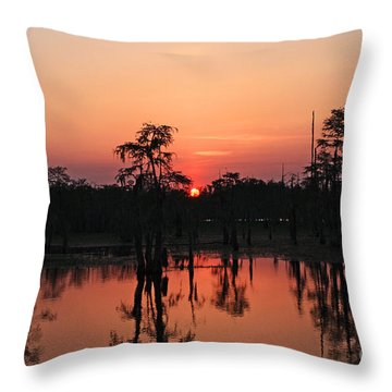 Throw Pillow featuring the photograph Swamp Sunset by Luana K Perez