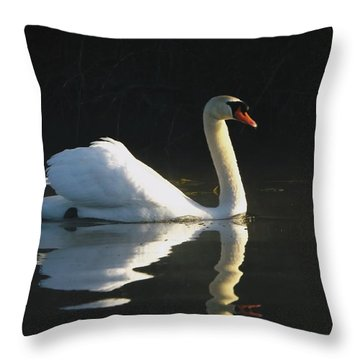 Throw Pillow featuring the photograph Swan Lake  by Gerald Strine