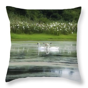 Swan Pond Throw Pillow by Bill Cannon