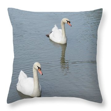 Swans Drifting Along Throw Pillow by Corinne Elizabeth Cowherd