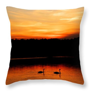 Swans In The Sunset Throw Pillow