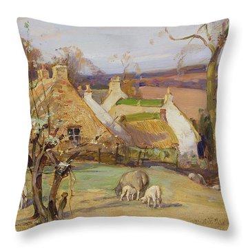 Swanston Farm Throw Pillow by Robert Hope