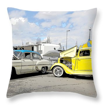 Swap Meet Plymouth And Chevy  Throw Pillow by Steve McKinzie