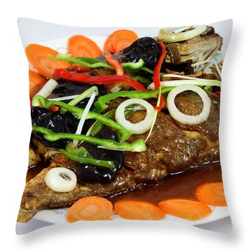 Sweet And Sour Fish Chinese Food Throw Pillow by Paul Ge