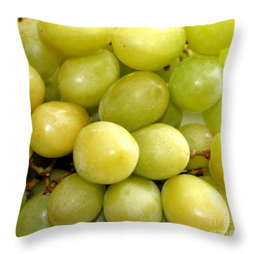 Sweet Green Grapes Throw Pillow by Barbara Griffin