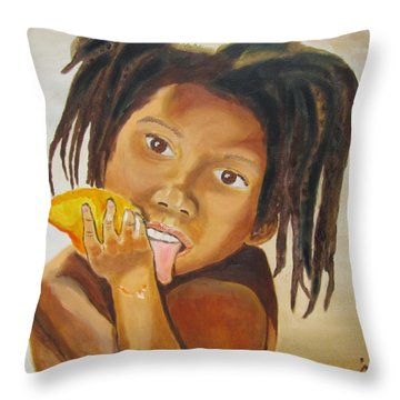 Sweet Mango Throw Pillow by Jennylynd James