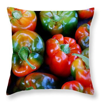 Sweet Peppers Throw Pillow by Guy Harnett