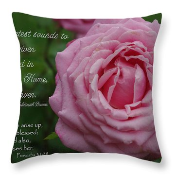 Sweetest Sound Mother Proverbs 31 Throw Pillow by Robyn Stacey