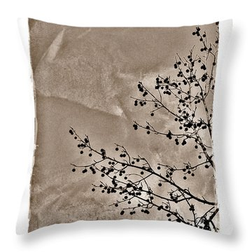 Sweetgum Sepia Throw Pillow by Judi Bagwell