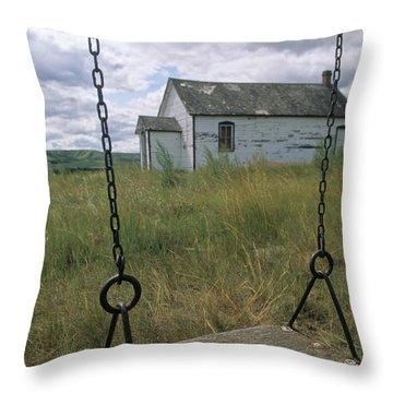 Swing At Old School House, Quappelle Throw Pillow by Dave Reede