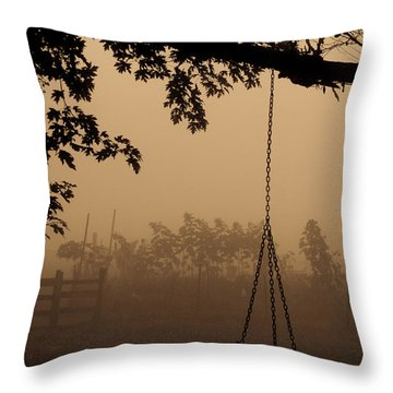 Throw Pillow featuring the photograph Swing In The Fog by Cheryl Baxter