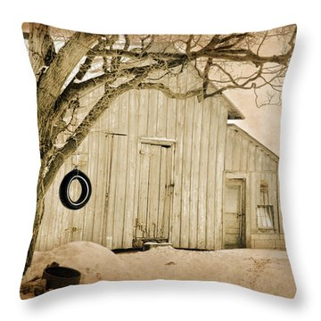 Throw Pillow featuring the digital art Swingin Barn by Mary Timman