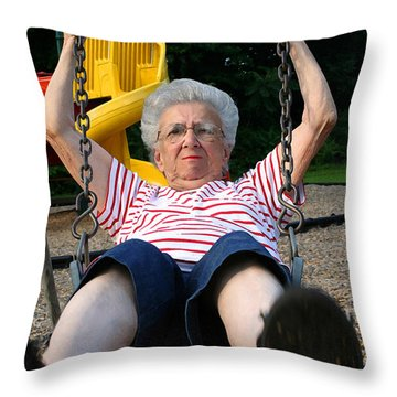 Swinging Grandmother 11 Throw Pillow