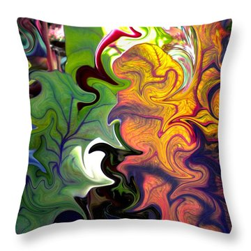 Swirled Leaves Throw Pillow by Renate Nadi Wesley