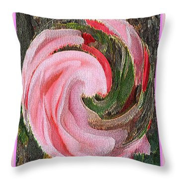 Swirling Pink Parrot Feather Throw Pillow