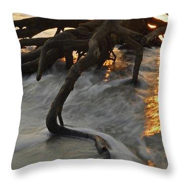 Swirling Sunrise On Jekyll Island Throw Pillow
