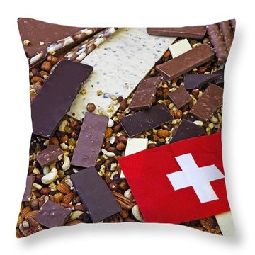 Swiss Chocolate Throw Pillow by Joana Kruse