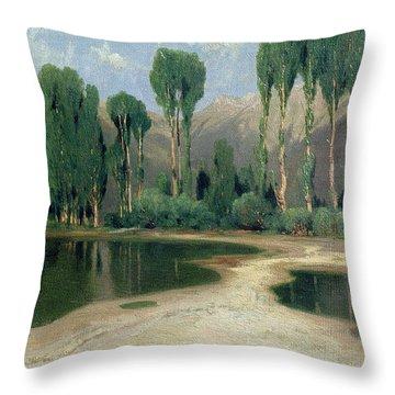 Swiss Landscape Throw Pillow by Alexandre Calame