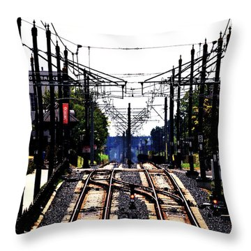 Switch Tracks Throw Pillow