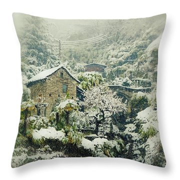 Switzerland In Winter Throw Pillow by Joana Kruse