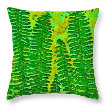 Sword Fern Fossil-green Throw Pillow