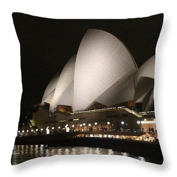 Throw Pillow featuring the photograph Sydney Opera House At Night by Laurel Talabere