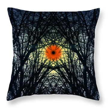 Throw Pillow featuring the digital art Symmetry In Extremis Rebirthing by Rosa Cobos