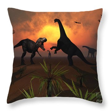 T. Rex Confronts A Group Throw Pillow by Mark Stevenson