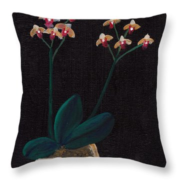 Table Orchid Throw Pillow by M Valeriano