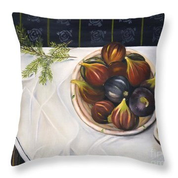 Throw Pillow featuring the painting Table With Figs by Carol Sweetwood