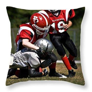 Tackle The Runner Throw Pillow by Susan Leggett