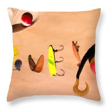 Tacklebox I Love You Throw Pillow by Cathy  Beharriell