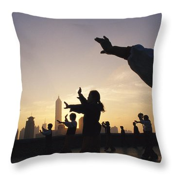 Tai Chi On The Bund In The Morning Throw Pillow by Justin Guariglia