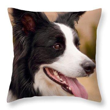 Taj - Border Collie Profile Throw Pillow by Michelle Wrighton