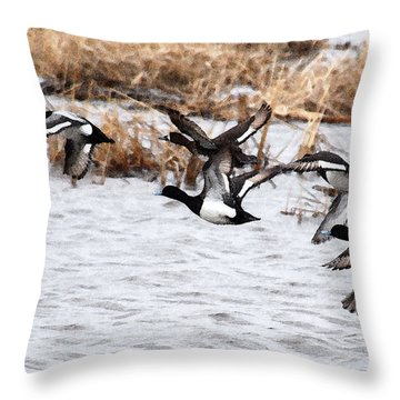 Throw Pillow featuring the photograph Take Flight No. 3 - Watercolor by Janice Adomeit