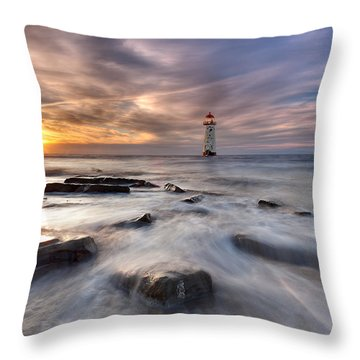 Talacre Lighthouse  Throw Pillow