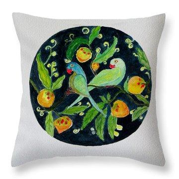 Talkative Parakeets Throw Pillow by Sonali Gangane