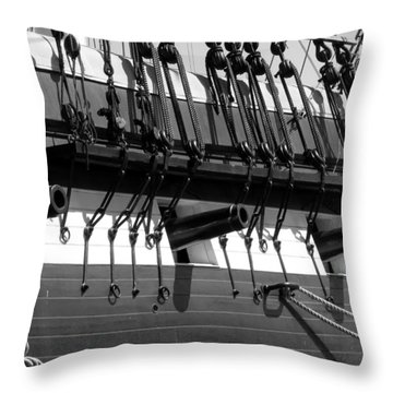 Throw Pillow featuring the photograph Tall Ship Canons Black And White by Darleen Stry