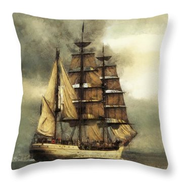 Tall Ship Throw Pillow by Marcin and Dawid Witukiewicz