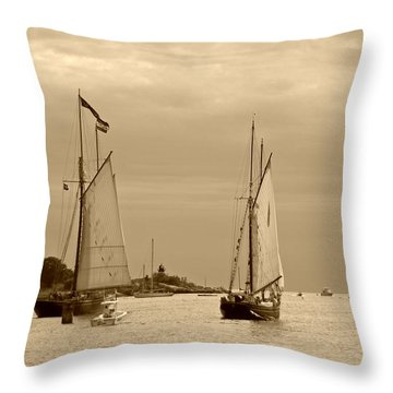 Tall Ships Sailing In Sepia Throw Pillow by Suzanne Gaff