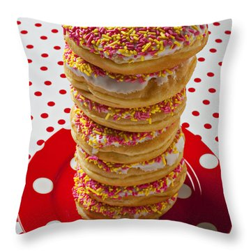 Tall Stack Of Donuts Throw Pillow by Garry Gay