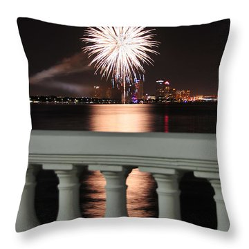Tampa Bay Fireworks Throw Pillow by David Lee Thompson