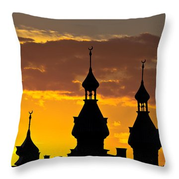 Throw Pillow featuring the photograph Tampa Bay Hotel Minarets At Sundown by Ed Gleichman