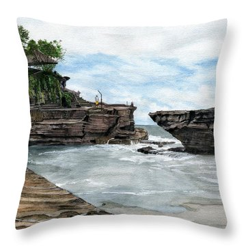 Throw Pillow featuring the painting Tanah Lot Temple II Bali Indonesia by Melly Terpening
