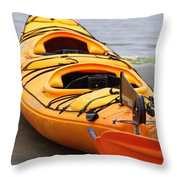 Tandem Yellow Kayak Throw Pillow