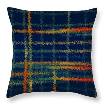 Tangerine Plaid Throw Pillow by Bonnie Bruno