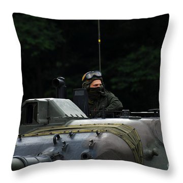Tank Commander Of A Leopard 1a5 Mbt Throw Pillow by Luc De Jaeger
