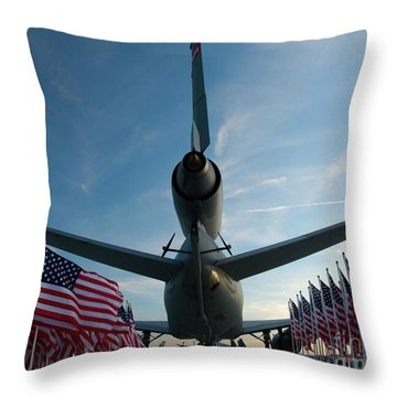 Tanker And Flags Throw Pillow by Tim Mulina
